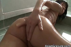 Cute asian up great body taking a bath