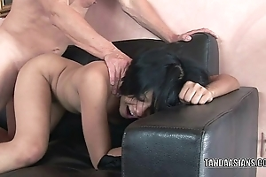 Asian cutie Krystal Kali takes a big dick in her twat