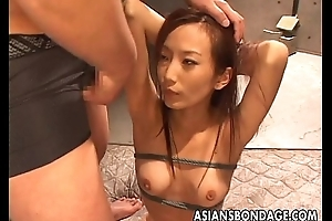Asian babegets nearly befucked hard as she is tied roughly