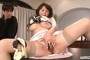 Busty Milf Masturbating In Undertaking For Guys Getting Her Nipples And Pussy Stimulate