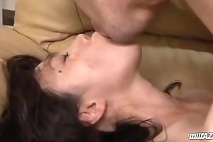 Milf With Hairy Pussy Riding On Young Panhandler Face Coupled with Load of shit Facial On The Couch In T