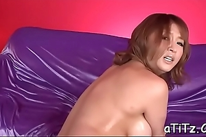 Asian relative to nice breasts enjoys rough toying and lusty pounding