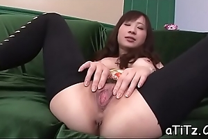 Cute asian with sexy tits stimulates with naughty blowjob