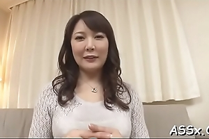 Appealing japanese three-some sex