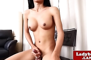 Real ladyboy tugging and stroking her horseshit