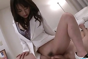 Asian nurse Ayumi Iwasa devours cock between her toes